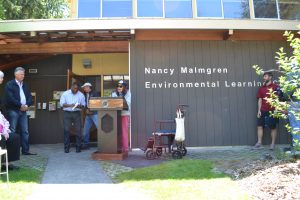 Nancy Malmgren accepting the renaming of the ELC in her honor; May 2, 2015